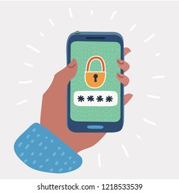Smartphone unlocked notification button and password field. Hand holding a mobile phone. Concept of smartphone security, personal access, user authorization, protection. Vector cartoon illustration