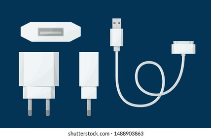 Smartphone USB charger adapter in different view with USB Micro cable 30-pin. Vector illustration in cartoon style.