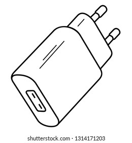 Smartphone USB Charger Adapter. Vector outline icon isolated on white background.