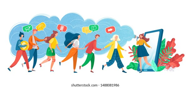 Smartphone and user vector, phone with line of people walking into screen. Referral system, refer friend, making money recommending new group flat style. Referral marketing program. Group customers.