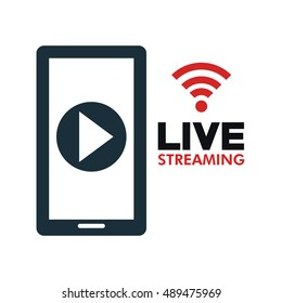 smartphone video line streaming icon design