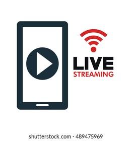 smartphone video line streaming icon design
