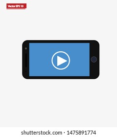 Smartphone with Video play button icon. Vector Icon. EPS 10