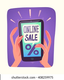 Smartphone views online sale. Vector illustration.