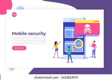 Smartphone virus malware trojan notification or alert. Hacker attack, Mobile security vector concept.