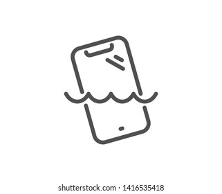 Smartphone waterproof line icon. Phone sign. Mobile device symbol. Quality design element. Linear style smartphone waterproof icon. Editable stroke. Vector