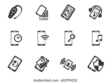 smartphone web icons. set of simple symbols silhouettes
