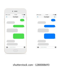 Smartphone white, chatting sms. Bubbles messenger.