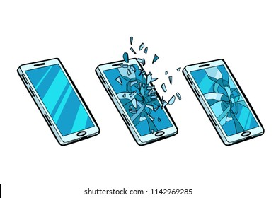 Smartphone whole, cracked glass and the phone is broken. Pop art retro vector illustration kitsch vintage