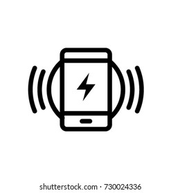 Smartphone Wireless Charging Icon Vector In Outline Style