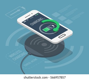 Smartphone wireless charging in isometric flat design style on colored background, vector infographic concept illustration, eps10.
