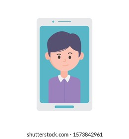 smartphone with young man on screen vector illustration