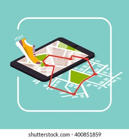 Smartphones app with track displayed with route. Vector fitness route tracking concept illustration. Flat design modern vector illustration concept.