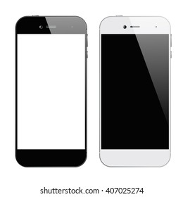 Smartphones. Smartphones black and white. Smartphone isolated. Vector illustration