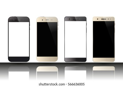 Smartphones with blank screens. Set of cell phones. Mobile phone mock up design. Vector illustration.