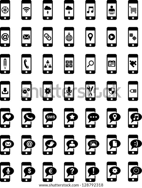 Smartphones with different icons on the screen