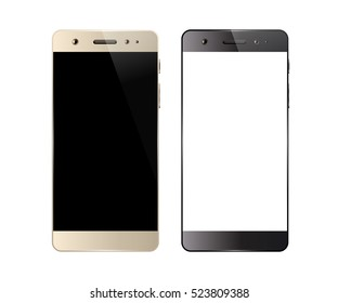 Smartphones isolated on white background. Mobile phone with blank screen. Cell phone mockup design. Vector illustration.