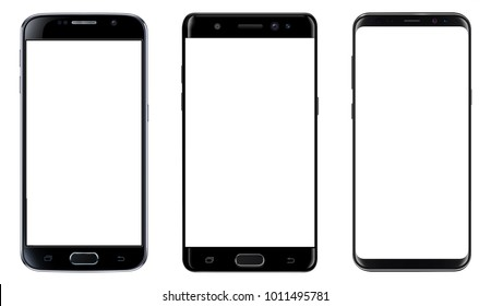 Smartphones, mobile phones isolated with blank screen, set of vector mockups.