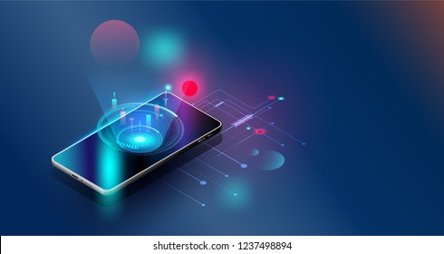 Smartphones, security controls Vector futuristic Smart investment chart technology controlling protection system With space for content,business tech presentation  appliances via internet