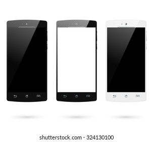 Smartphones set. Smart phone isolated on white background. Mobile phone mockup design. Vector illustration.