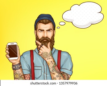 Smartphones store, mobile application service pop art vector advertising banner, promo poster template. Pensive hipster man with tattooed hands, showing cellphone screen, stroking beard illustration