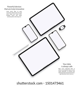 smartphones, tablets, smart watch and stylus set with blank screen saver top view isolated on white background. realistic and detailed devices mockup. stock vector illustration