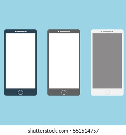 Smartphones white, black, grey set. Vector illustration