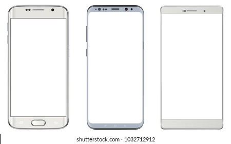 Smartphones, white mobile phones isolated with blank screen