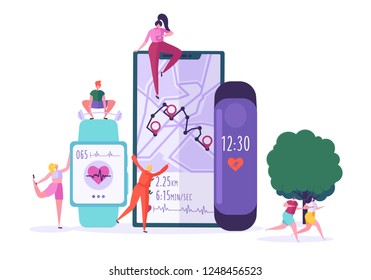 Smartwatch app technology concept. Active people characters running with heart rate monitor. Fitness tracker, heartbeat, counting calories. Vector illustration