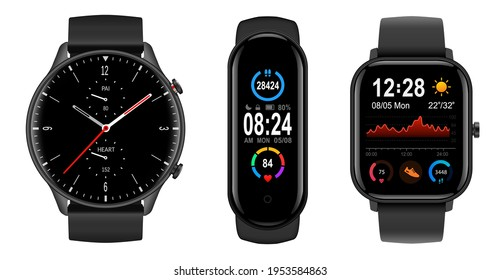 Smartwatch collection, realistic icons isolated on white, technology electronic gadgets, wrist watch vector illustration, interesting modern electronic bands set.