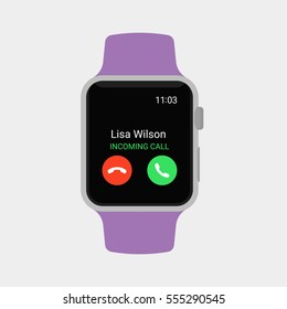 Smartwatch displaying incoming call. Modern flat vector illustration.