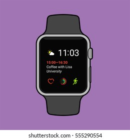 Smartwatch displaying various information. Modern flat vector illustration.