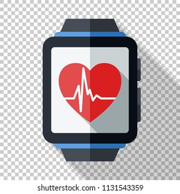 Smartwatch with health or fitness application icon. Smart watch icon in flat style with long shadow on transparent background
