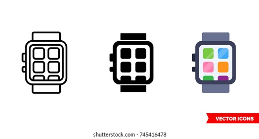 Smartwatch icon of 3 types: color, black and white, outline. Isolated vector sign symbol.