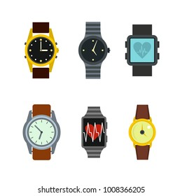 Smartwatch icon set. Flat set of smartwatch vector icons for web design isolated on white background
