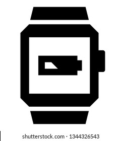 Smartwatch low battery icon. Vector icon of smart watch with battery showing low charge
