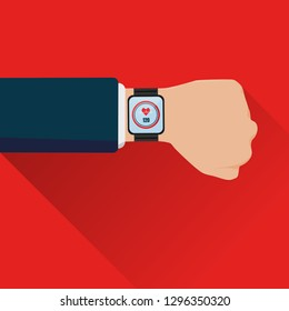 smartwatch on hand display healthcare application vector, heart rate, red background, minimal style.