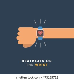 "Smartwatch on wrist displaying heartbeats ""time for a smartwatch"". vector illustration. flat minimal design."