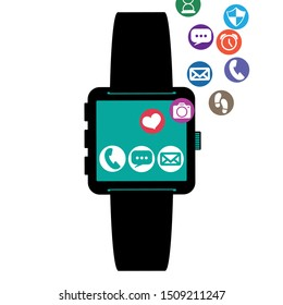 smartwatch technology with apps set vector illustration
