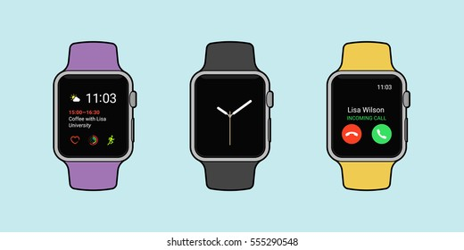 Smartwatches displaying various information in three different color whit outline. Modern flat vector illustration.