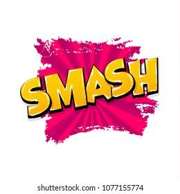smash smack hand drawn pictures effects. Template comics grunge speech bubble brush halftone dot background. Pop art style. Comic dialog text cloud. Creative sketch explosion.