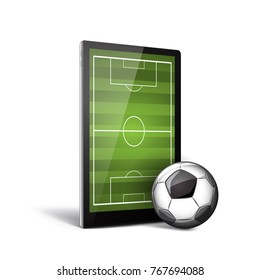 Smatrphone with green field on the screen and soccer ball.