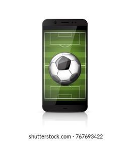 Smatrphone with soccer ball.