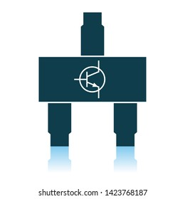 Smd Transistor Icon. Shadow Reflection Design. Vector Illustration.
