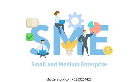 SME, Small and Medium Enterprise. Concept with people, letters and icons. Colored flat vector illustration on white background.