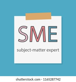 SME Subject-matter expert written in a notebook paper- vector illustration