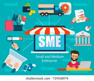 SME vector illustration, Small and Medium Enterprise, word lettering illustration in business concept. Design in modern style with related icons concept for web, app banner design. EPS10