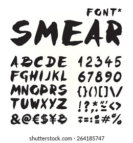 Smear hand painted font for seasonal posters or other works on white background