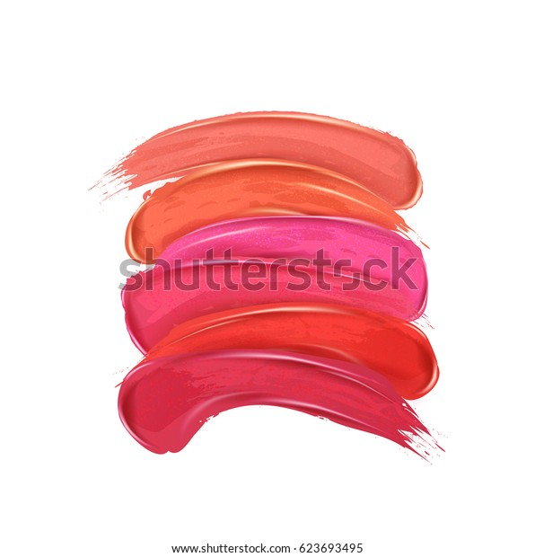 Smears lipstick set, isolated on white background. Beauty and cosmetics colorful collection,  brush stroke Template, card. Hand drawn elements, Vector illustration.