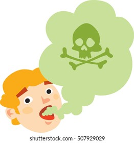 Smell. Bad mouth breath. Green stink cloud coming from men's mouth. Deadly cloud with skull and crossbones. Isolated symbol. On white background.